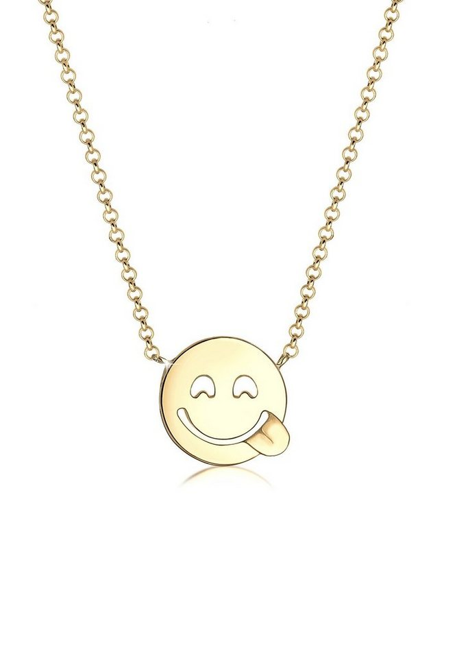 Elli Halskette »Smiley Icon 925 Sterling Silber« in Gold