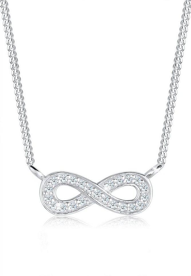 Elli Halskette »Infinity Diamant 0.01ct. 925 Sterling Silber« in Weiß