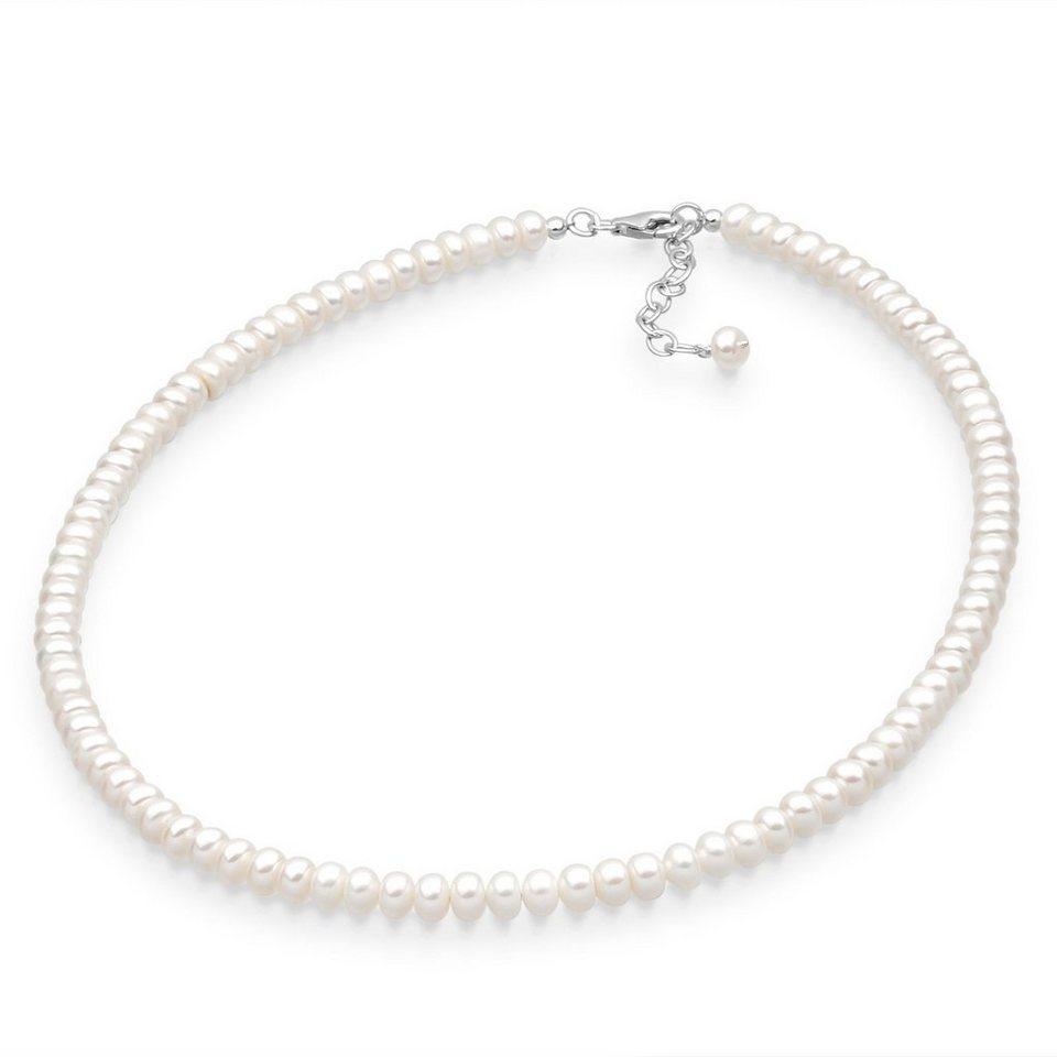 Perlu Halskette »Glänzend Süßwasserzuchtperlen 925 Sterling Silber« in Weiß