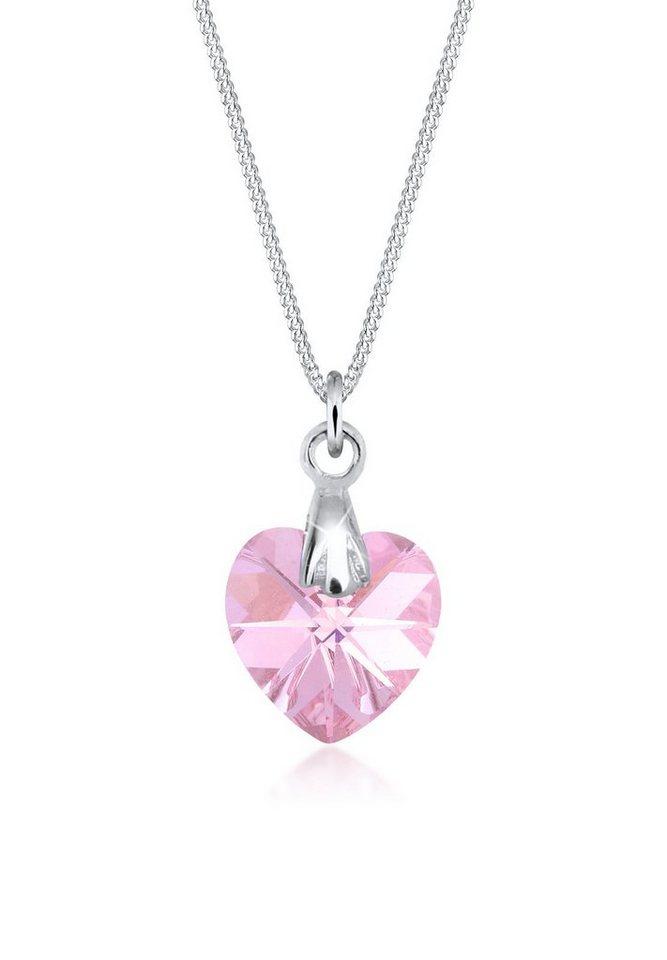 Elli Halskette »Herz Liebe Swarovski® Kristall 925 Silber« in Rosa