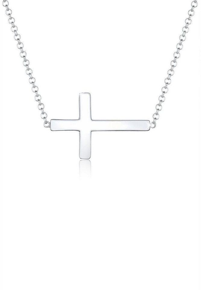 Elli Halskette »Kreuz Faith 925 Sterling Silber« in Silber