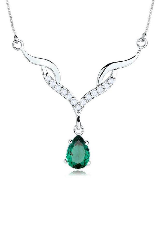 Elli Halskette »Collier Quarz Topas 925 Sterling Silber« in Grün