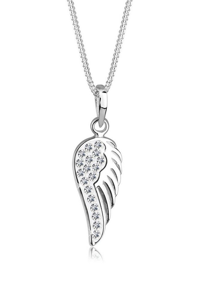 Elli Halskette »Engelsflügel Swarovski® Kristalle Sterling Silber« in Weiß