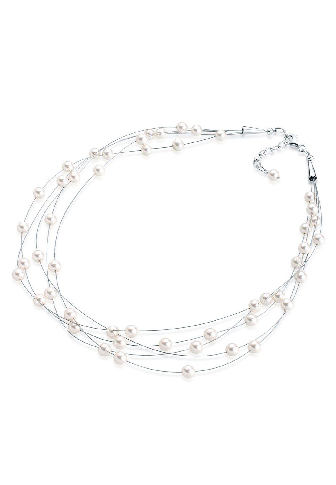 Elli Halskette »Multi-Chain Swarovski® Perlen 925 Sterling Silber«