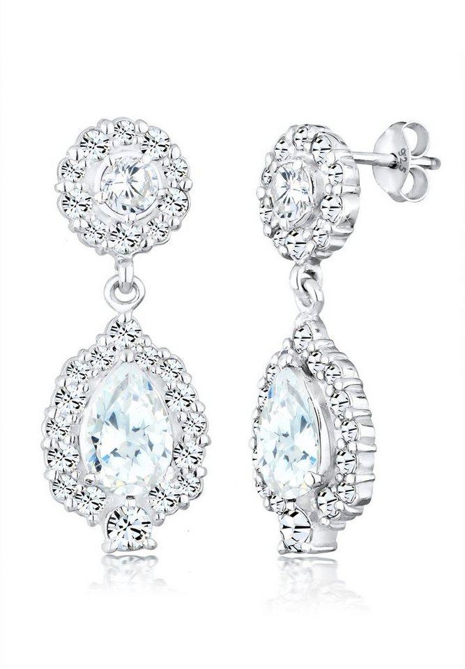 Elli Ohrringe »Ohrhänger Swarovski® Kristalle Zirkonia 925 Silber« in Weiß