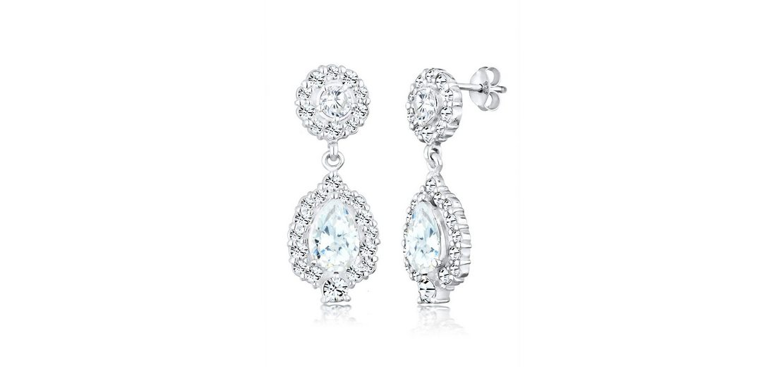 Elli Ohrringe »Ohrhänger Swarovski® Kristalle Zirkonia 925 Silber«