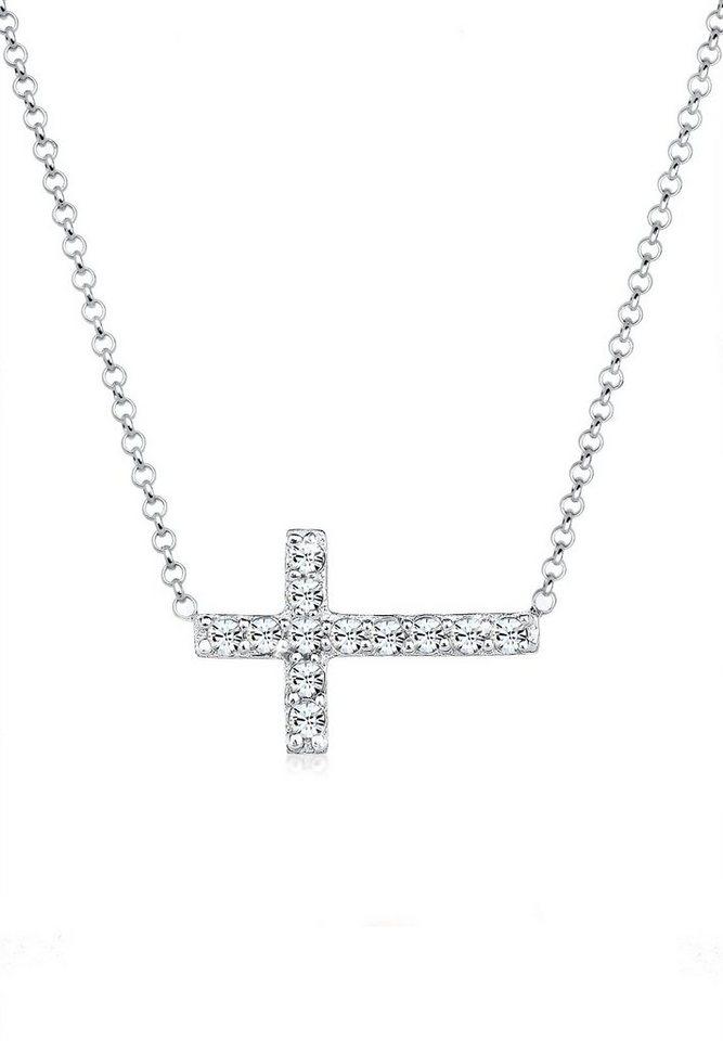 Elli Halskette »Kreuz Symbol Swarovski®Kristalle 925 Sterling Silb« in Weiß