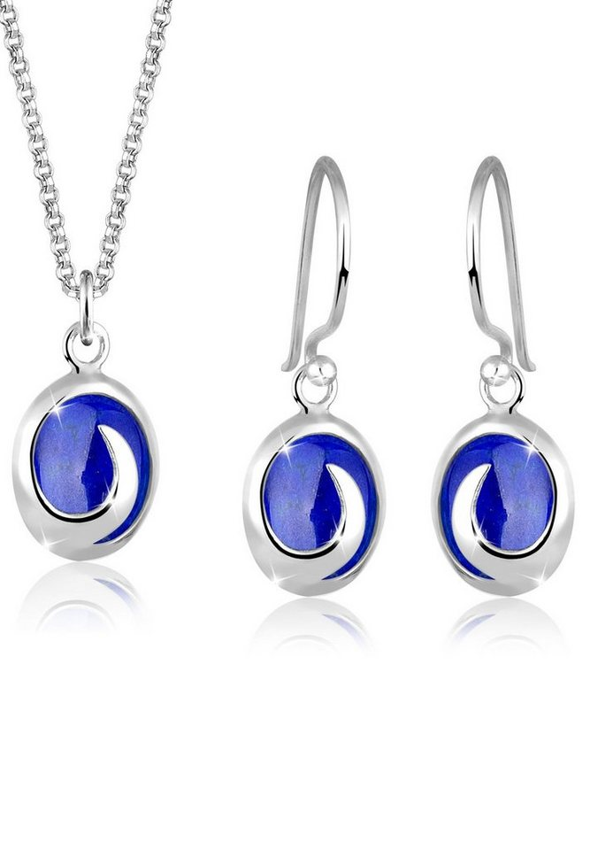 Elli Set: Schmuckset »Lapis Lazuli Edelsteine 925 Sterling Silber« 2 tlg. in Blau