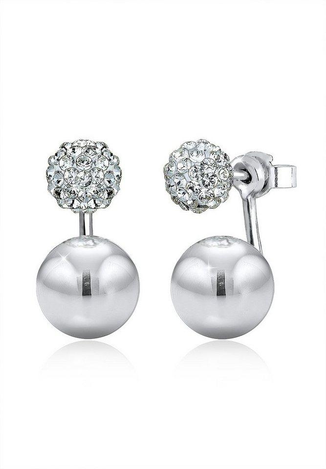 Elli Ohrringe »Front-Back Geo Trend Swarovski® Kristalle Silber« in Weiß