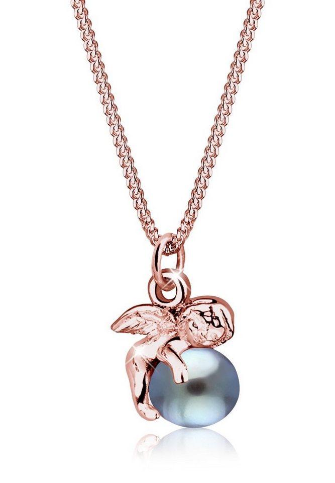 Elli Halskette »925 Sterling Silber Süßwasserzuchtperle« in Grau