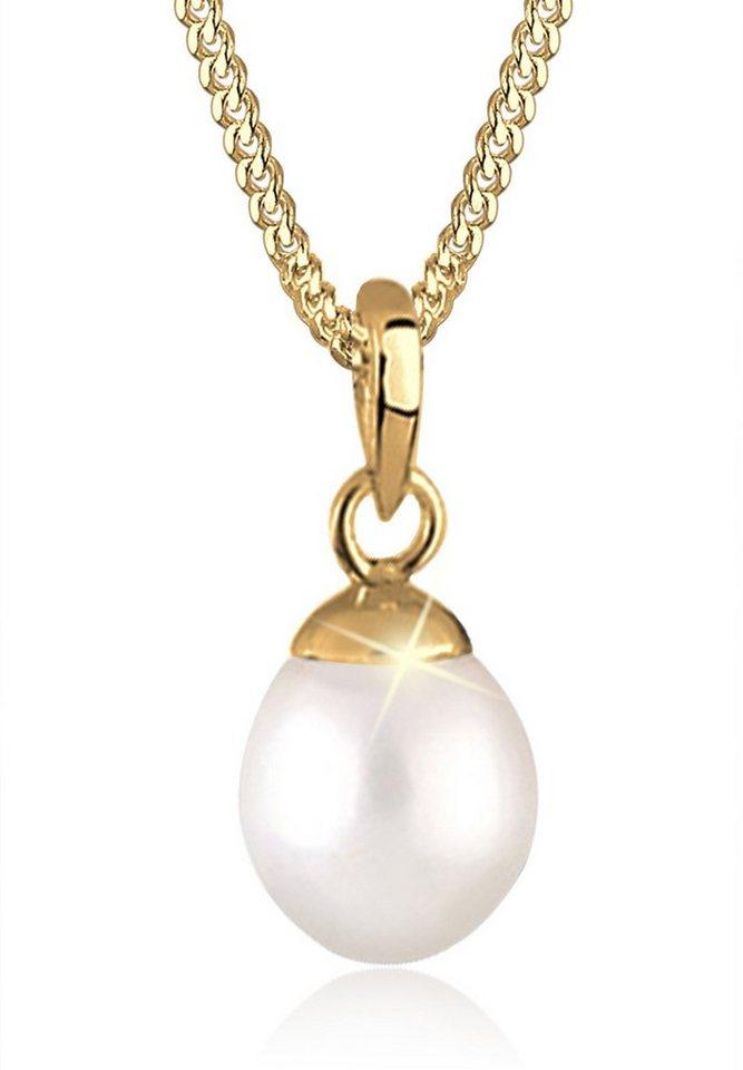 Goldhimmel Halskette »Süßwasserzuchtperle 925 Sterling Silber vergoldet« in Weiß