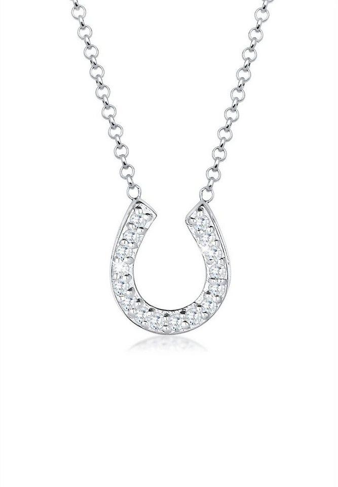 Elli Halskette »925 Sterling Silber Hufeisen Zirkonia« in Weiß