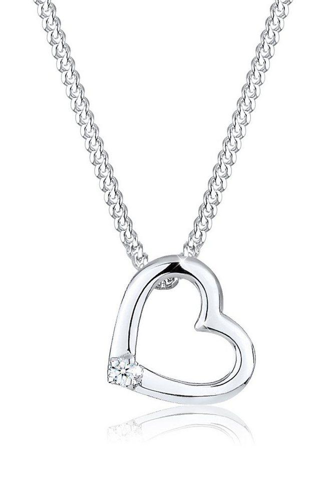 Diamore Halskette »Herz Diamant Zart 925 Sterling Silber« in Silber