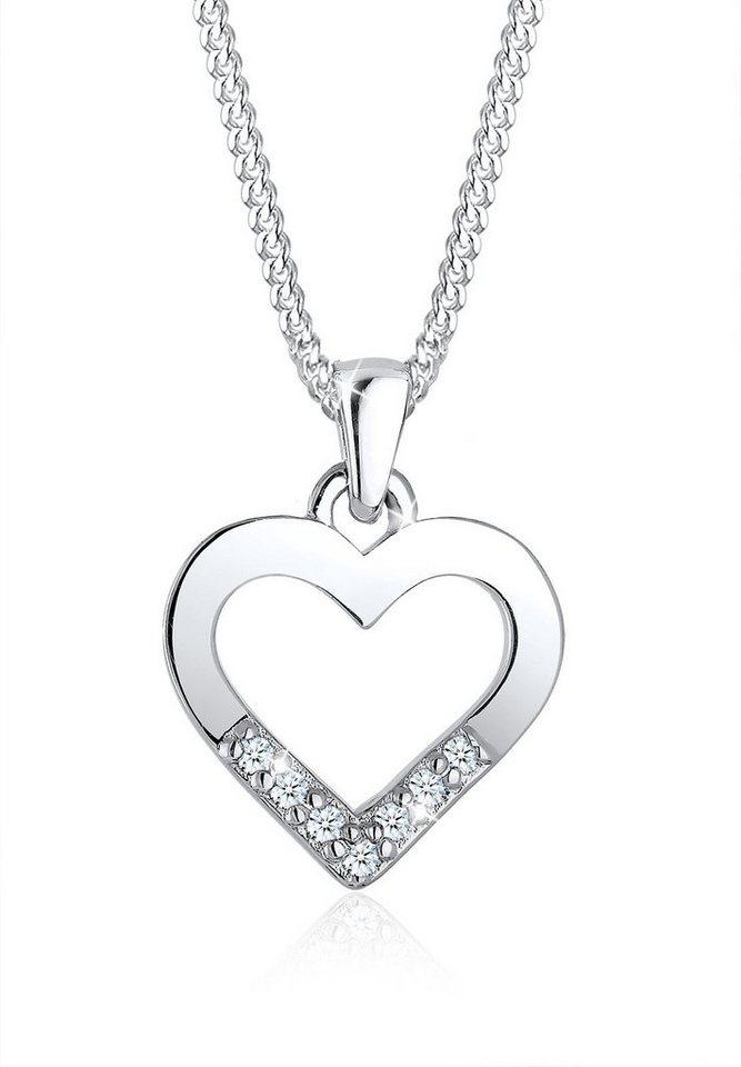 Diamore Halskette »Herz Klassisch Diamant 925 Sterling Silber« in Silber