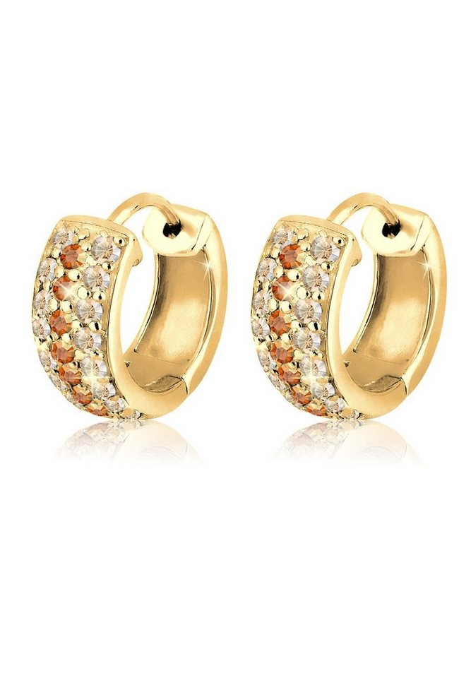 Goldhimmel Ohrringe »Creolen Swarovski® Kristalle 925 Sterling Silber« in Gold