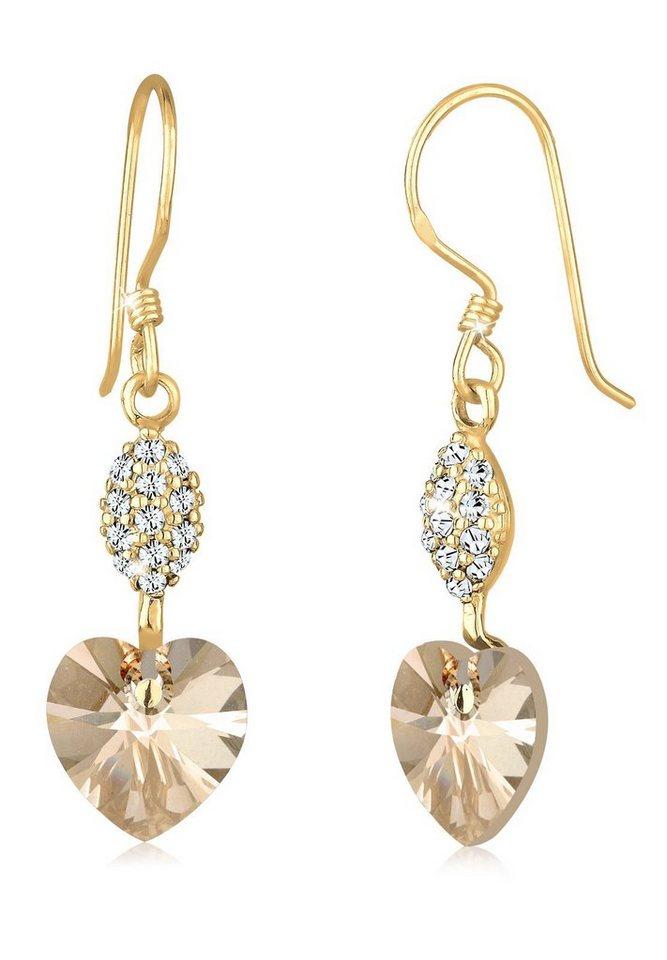 Goldhimmel Ohrringe »Herz Swarovski® Kristalle 925 Sterling Silber« in Gold