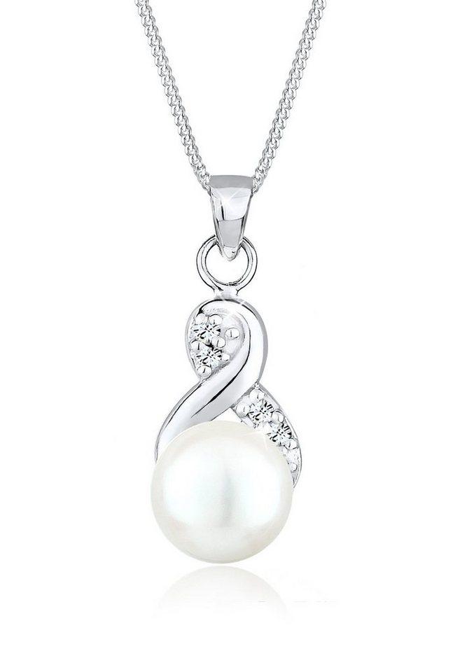 Perlu Halskette »Infinity Süßwasserzuchtperle 925 Sterling Silber« in Weiß