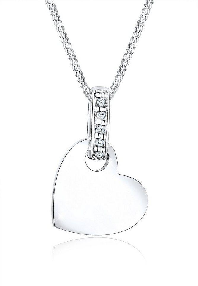 Diamore Halskette »925 Sterling Silber Herz Diamant« in Silber