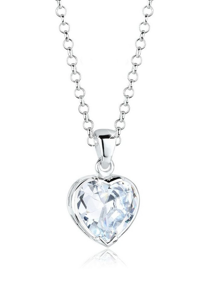 Elli Halskette »Herz Liebe Zirkonia Silber« in Weiß