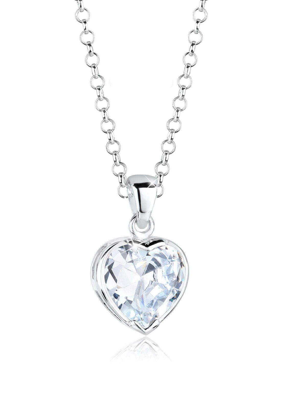 Elli Halskette »Herz Liebe Zirkonia Silber«