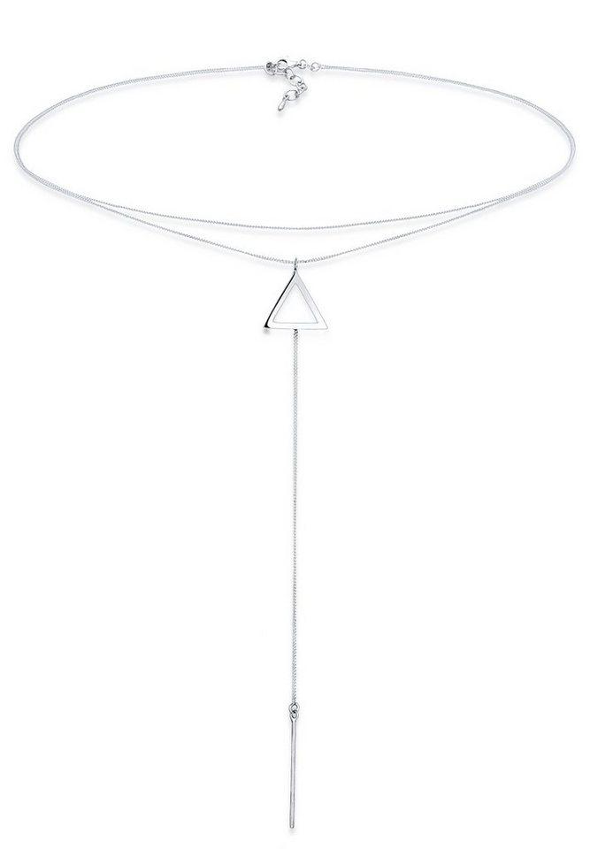 Elli Halskette »Choker Y-Kette Dreieck 925 Sterling Silber« in Silber
