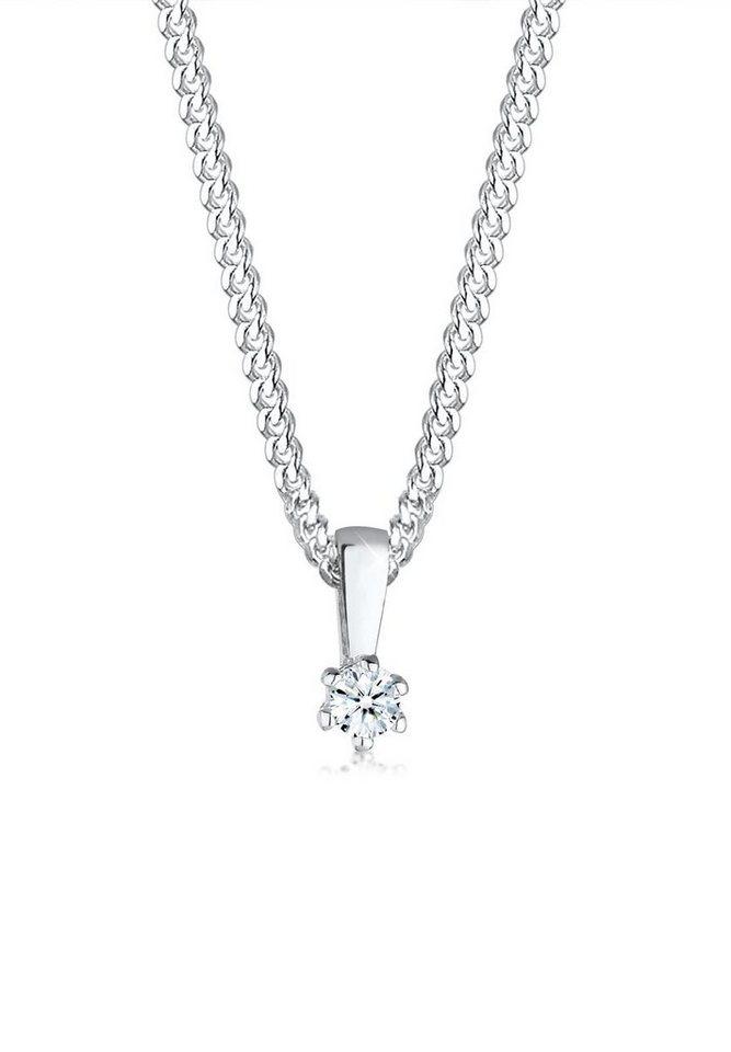 Diamore Halskette »Kreis Diamant Kette 925 Sterling Silber« in Weiß