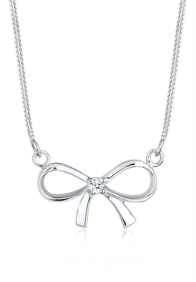 Diamore Halskette »Schleife Diamant 925 Sterling Silber« in Weiß