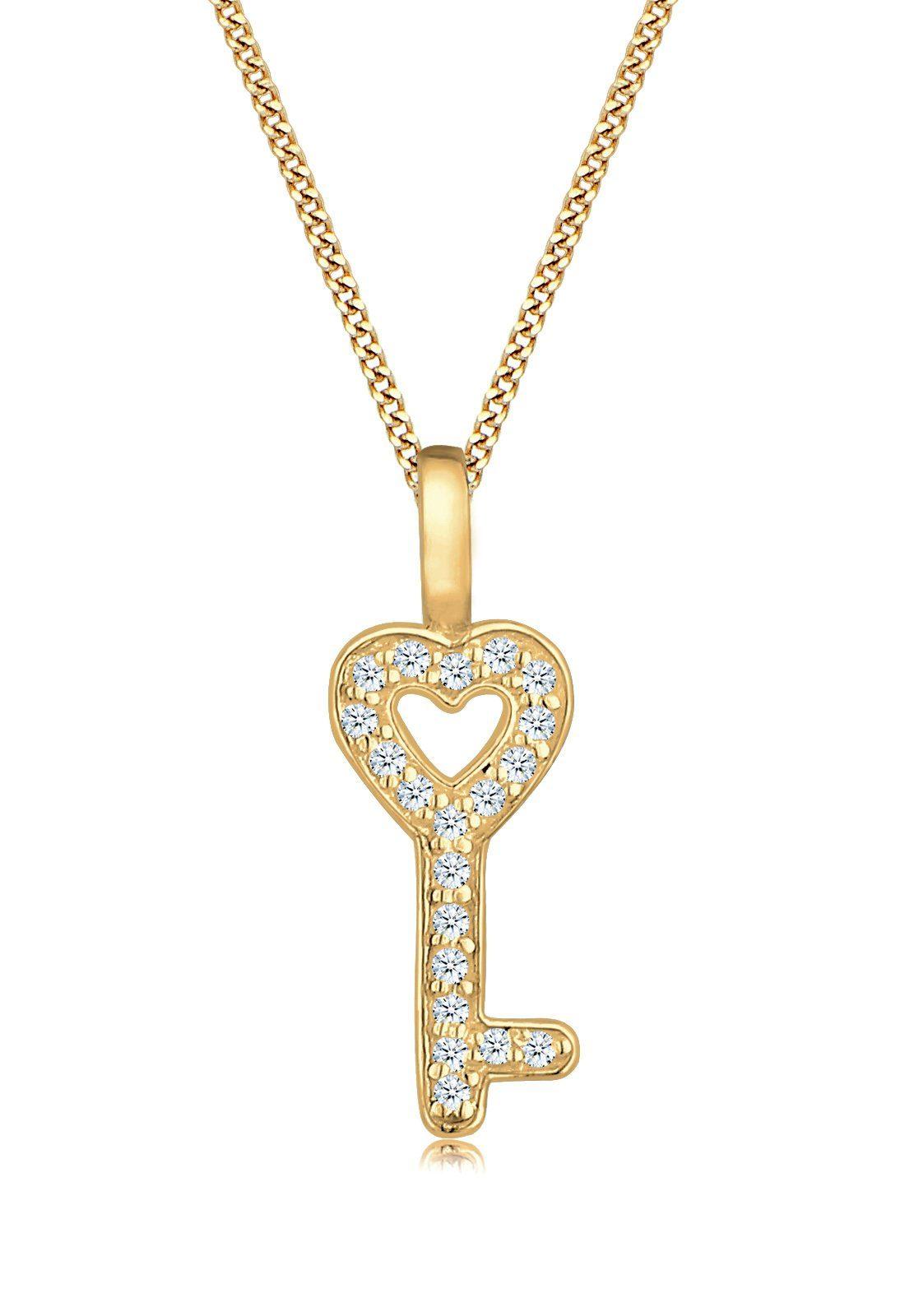Elli Halskette »Schlüssel Diamant 585 Gelbgold«