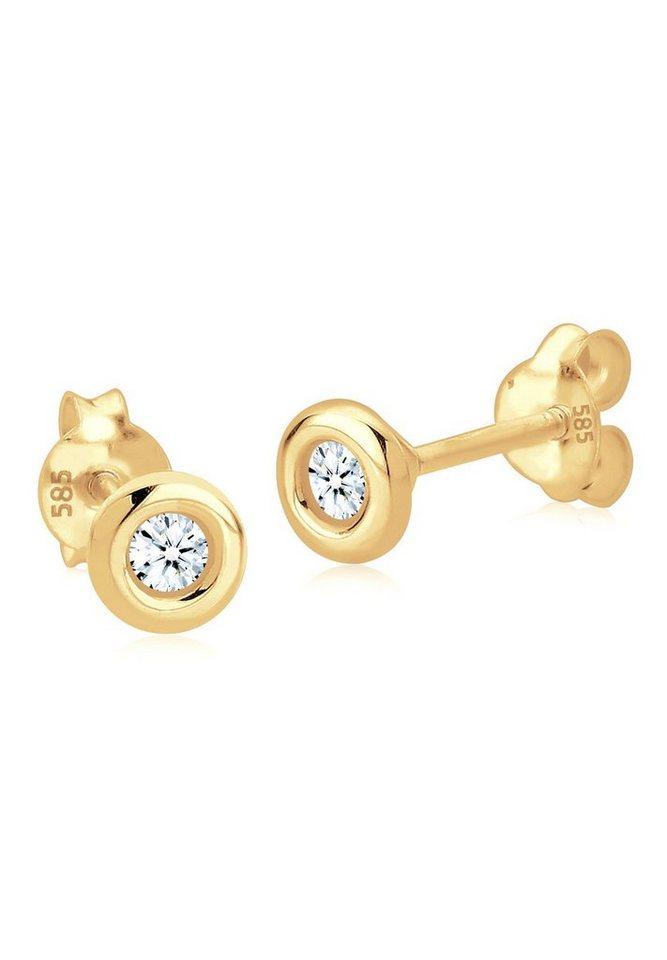 Diamore Ohrringe »585 Gelbgold Diamant Solitär« in Weiß
