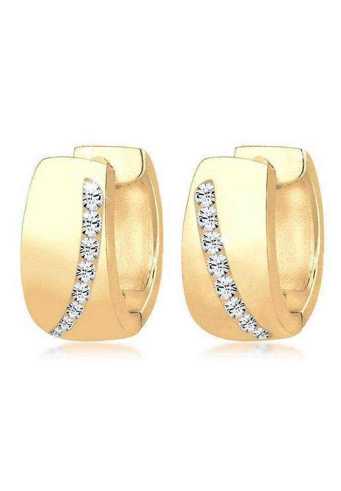 Goldhimmel Ohrringe »Creolen Swarovski® Kristalle Funkelnd vergoldet« in Gold