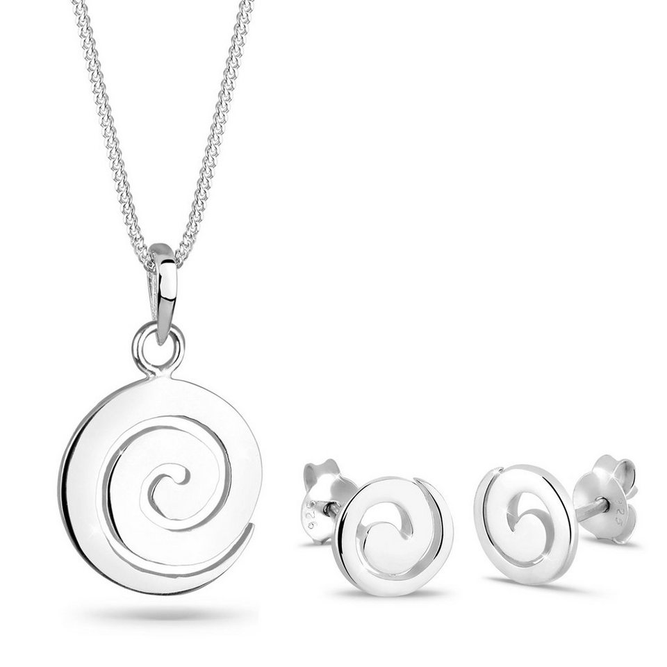 Elli Set: Schmuckset »Spirale Rund Kreis 925 Sterling Silber« 2 tlg. in Silber