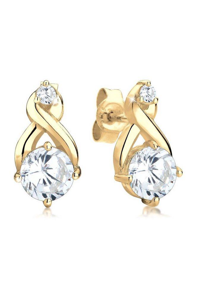 Goldhimmel Ohrringe »925 Sterling Silber vergoldet Infinity Zirkonia« in Weiß