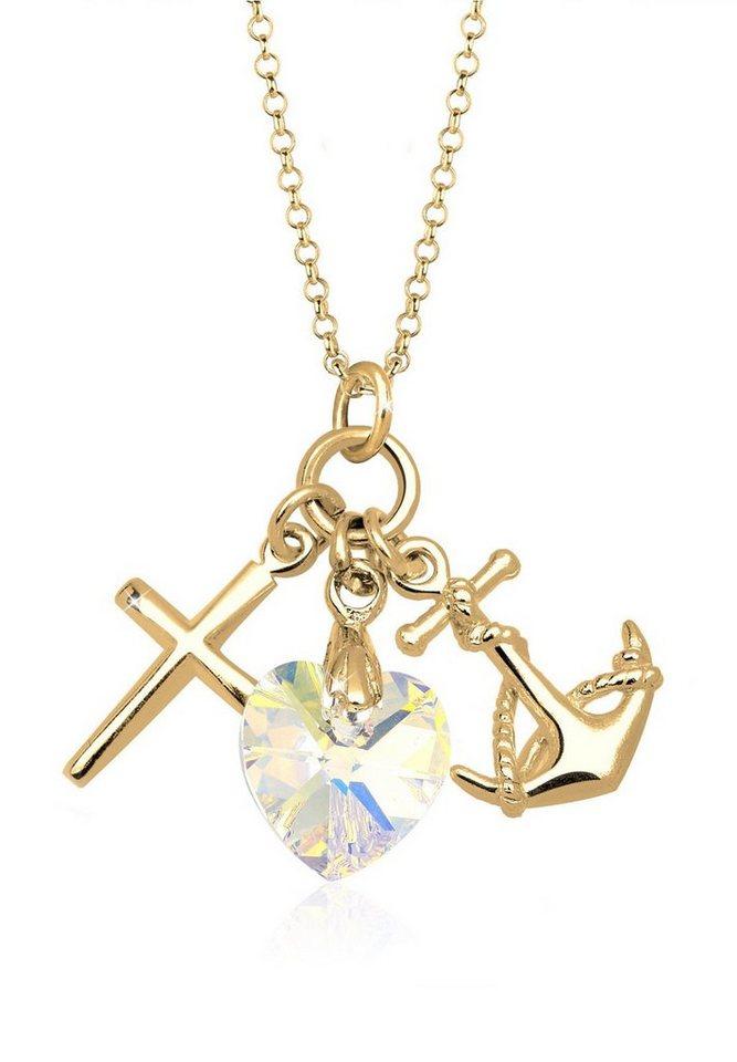 Goldhimmel Halskette »Hoffnung Swarovski Kristalle® 925 Sterling Silber« in Weiß