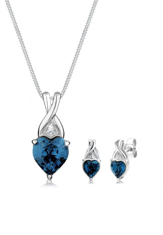 Elli Set: Schmuckset »Herz Swarovski® Kristalle 925 Sterling Silber« 2 tlg. in Blau