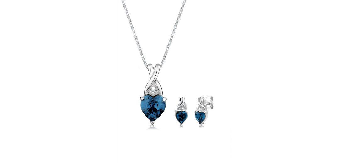 Elli Set: Schmuckset »Herz Swarovski® Kristalle 925 Sterling Silber« 2 tlg.