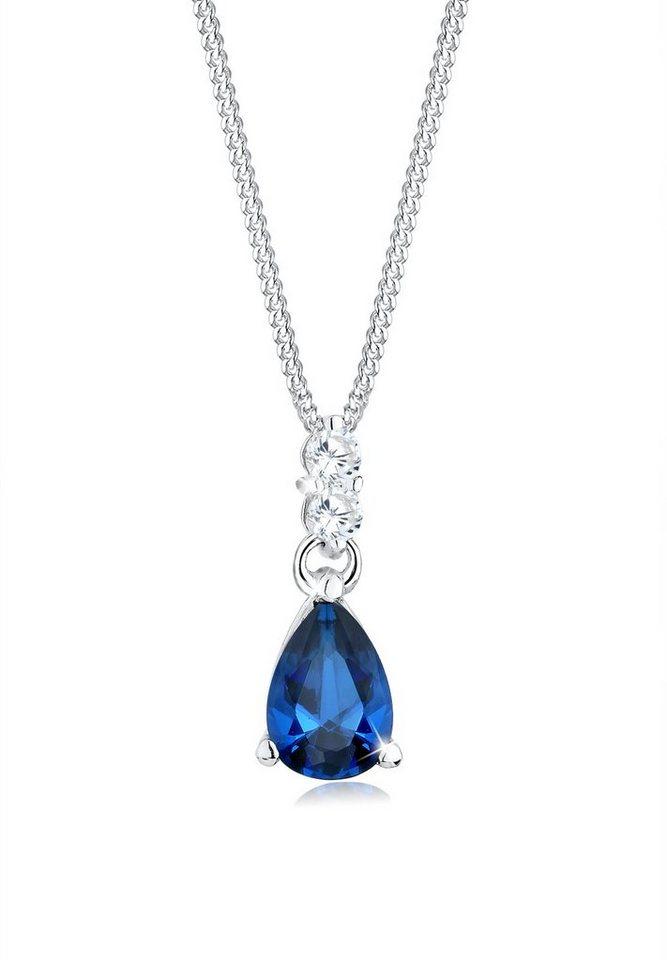 Elli Halskette »Tropfen Saphirblau Zirkonia 925 Sterling Silber« in Blau