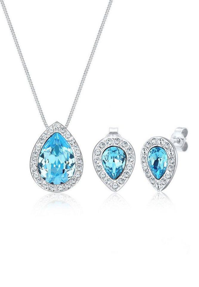 Elli Set: Schmuckset »Swarovski Kristalle 925 Sterling Silber« 2 tlg. in Hellblau