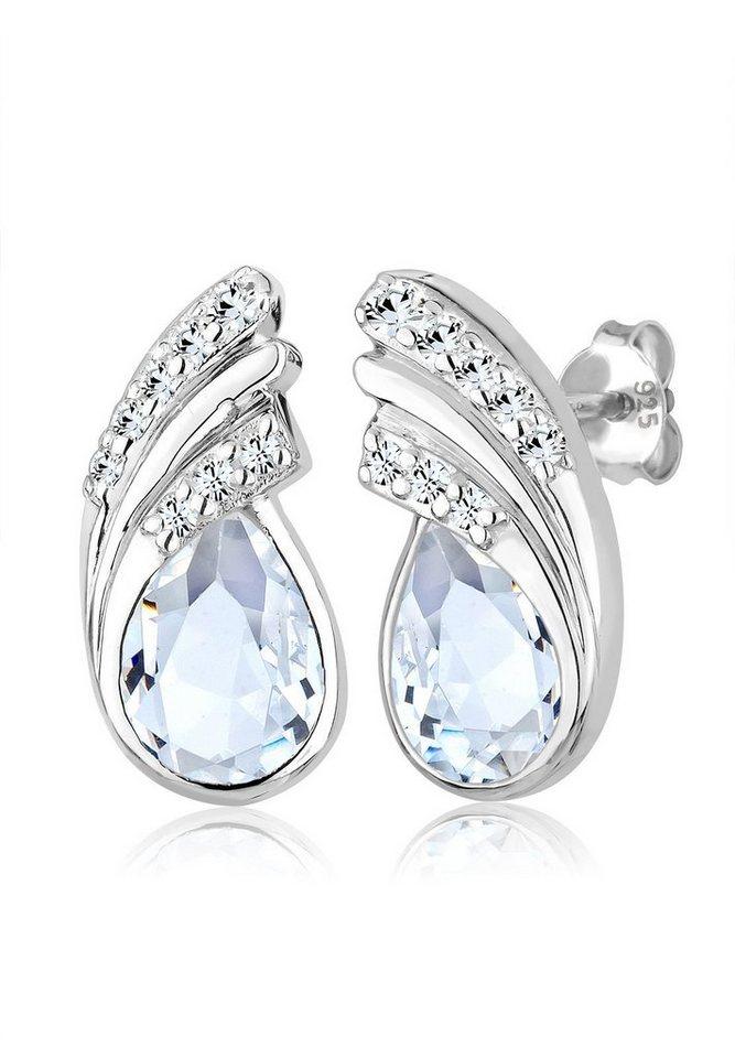 Elli Ohrringe »Tropfen Swarovski® Kristalle 925 Sterling Silber« in Weiß