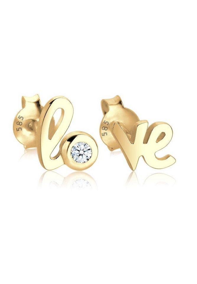 Diamore Ohrringe »585 Gelbgold Love-Schriftzug Diamant« in Weiß