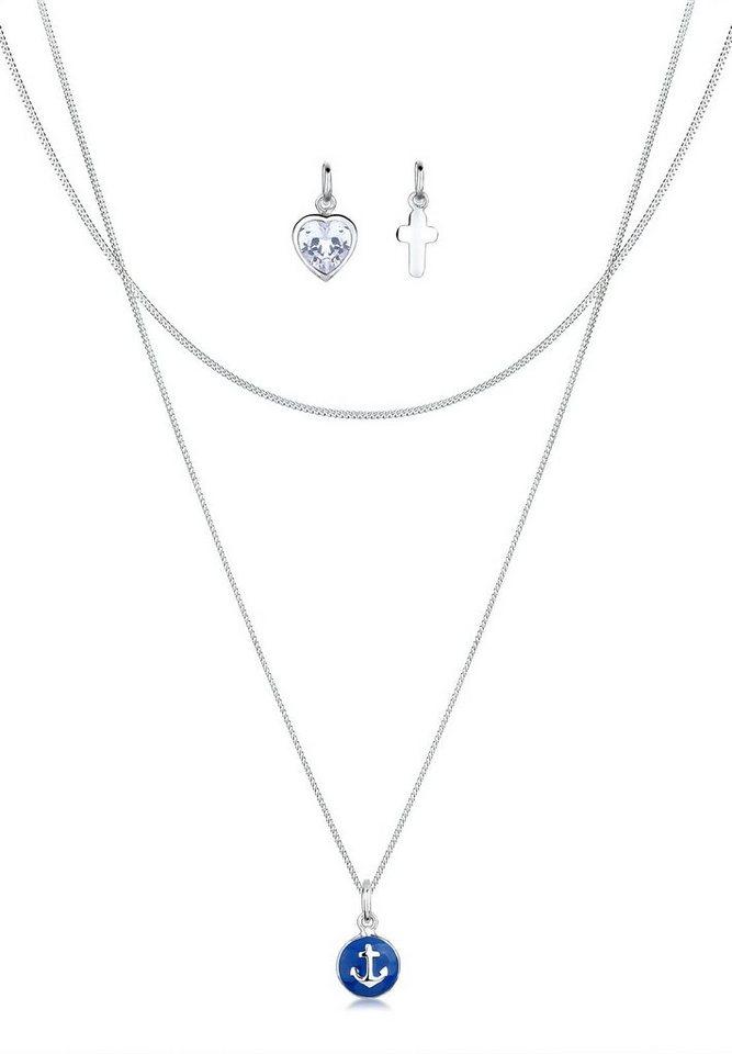 Elli Set: Halskette »Anhänger-Set Anker Kreuz Herz Zirkonia 925 Silber« 3 tlg. in Weiß