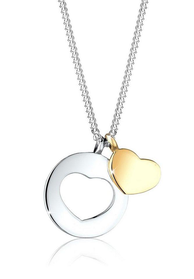 Elli Halskette »Herzen 925 Sterling Silber vergoldet« in Silber