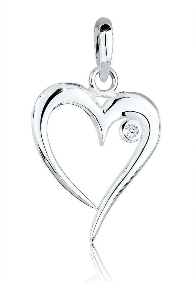 Diamore Anhänger »Herz Diamant 925 Sterling Silber« in Weiß