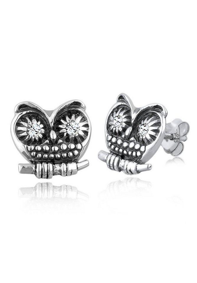 Elli Ohrringe »925 Sterling Silber Eule Swarovski Kristalle« in Weiß
