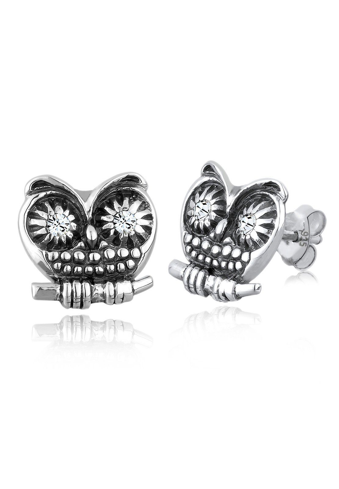 Elli Ohrringe »925 Sterling Silber Eule Swarovski Kristalle«
