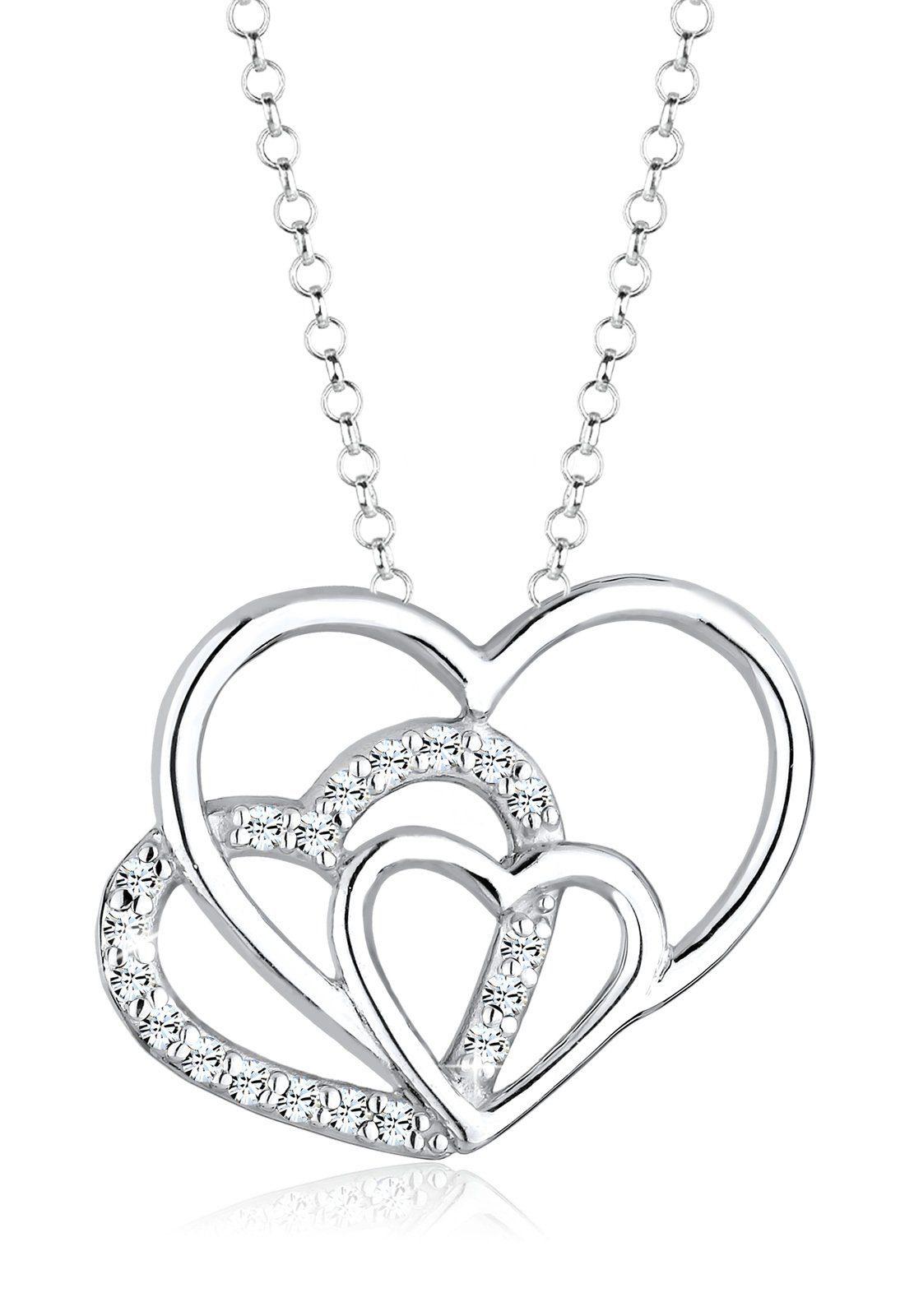 Elli Halskette »3-Faches Herz Swarovski® Kristalle 925 Silber«