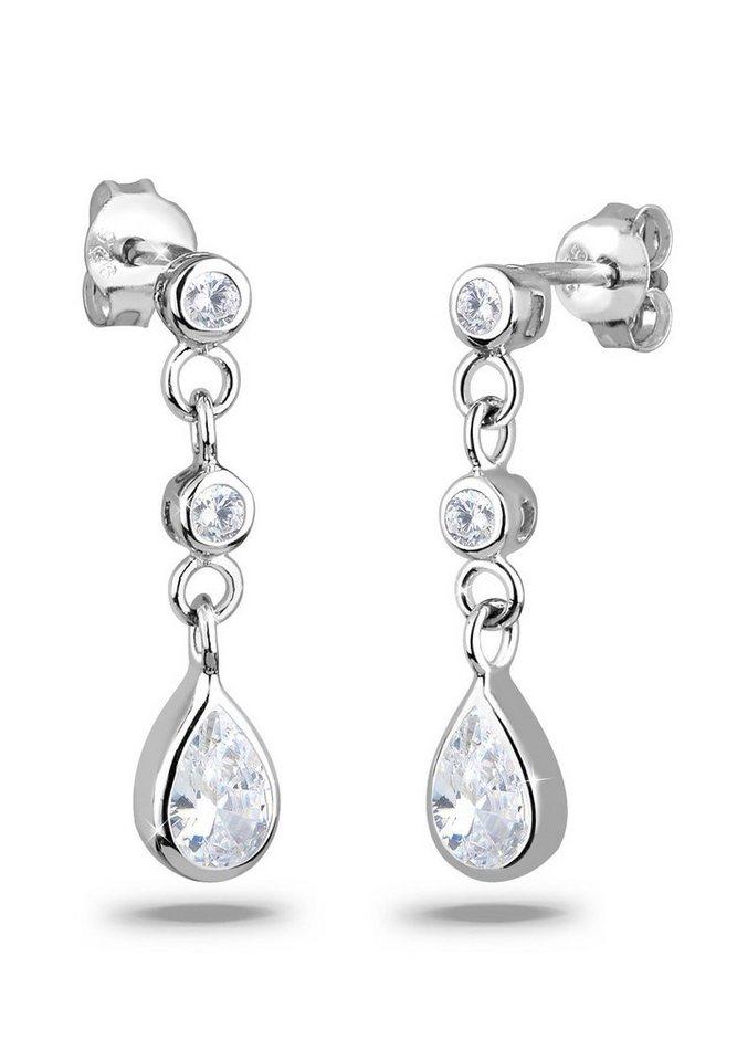 Elli Ohrringe »Tropfen Zirkonia Elegant Funkelnd 925 Silber« in Weiß