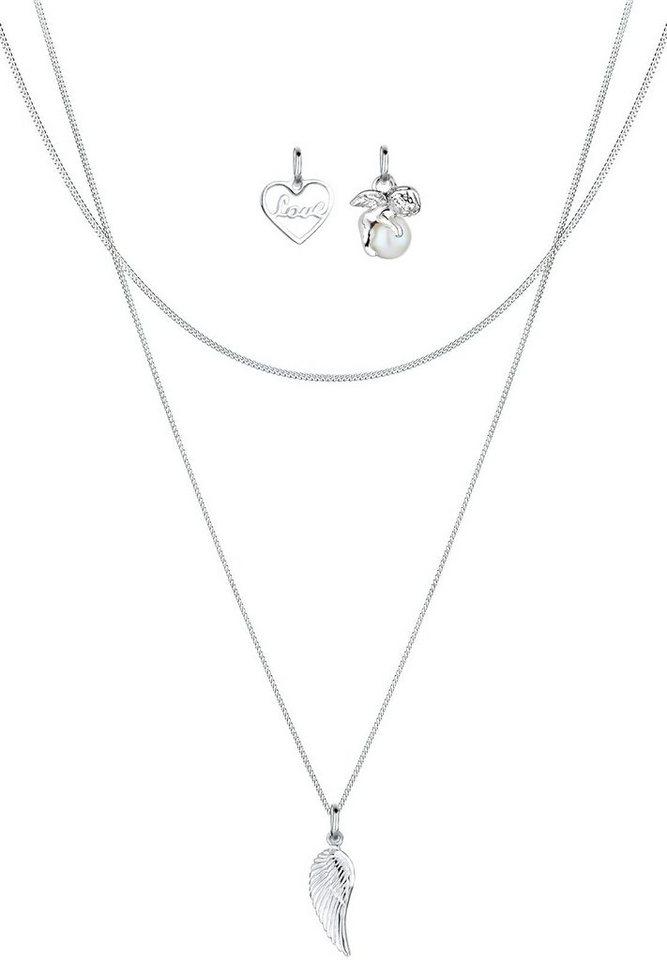 Elli Set: Halskette »Anhänger-Set Herz Engel Flügel Perle 925 Silber« 3 tlg. in Silber