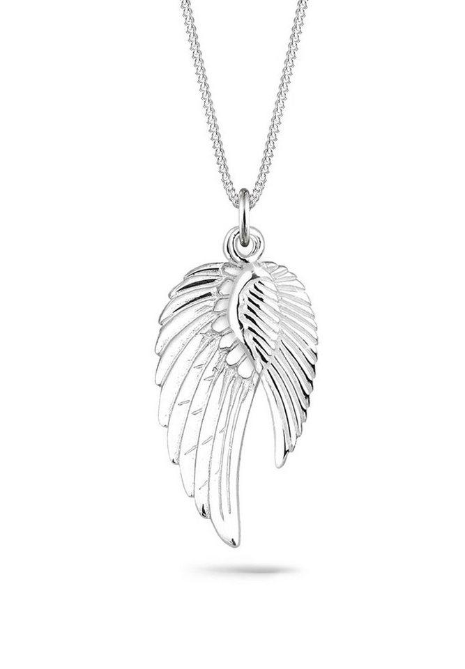 Elli Halskette »Doppelte Flügel Schutzengel 925 Sterling Silber« in Silber