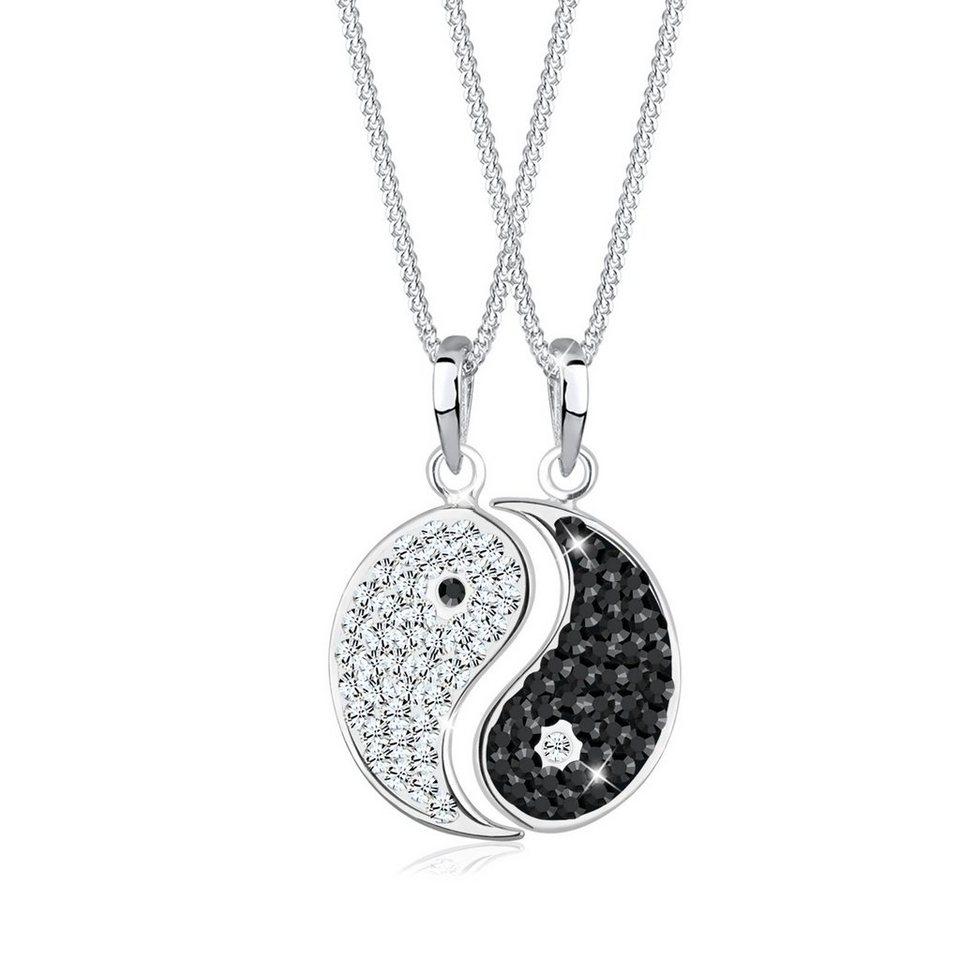 Elli Set: Halskette »Yin Yang Swarovski® Kristalle 925 Sterling Silber« 2 tlg. in Bunt