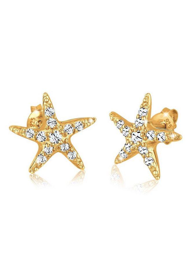 Goldhimmel Ohrringe »Seestern Swarovski® Kristalle 925 Silber vergoldet« in Weiß